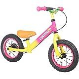 cycmoto 幼児用 ペダルなし自転車 2、3、4、5、6歳 子供用 バランス 12インチ 子ども用自転車 花火 子供トレーニングバイク ランニングバイク ブレーキ付き ゴムタイヤ装備 キッズバイク 男の子 女の子 ピンク イエロー