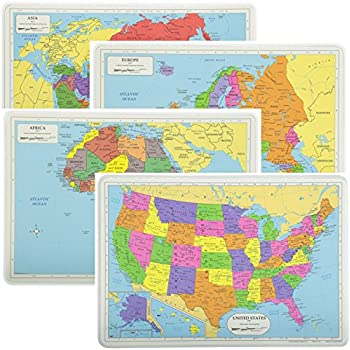 painless learning educational placemats sets usa africa asia and eu maps non slip washable