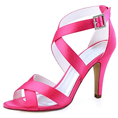 Elegantpark HP1705 Women Peep Toe Stiletto High Heeled Strappy Sandals  Buckle Satin Wedding Party Prom Shoes cefc9328c