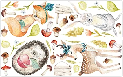 dekodino/® Sticker mural aquarelle animaux de for/êt cerfs renard renard h/érisson