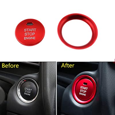 Thor-Ind Car Engine Start Stop Push Button Cover Trim and Surrounding Decorative Ring For Mazda 2 3 6 CX-3 CX-4 CX-5 CX-9 MX-5 Ignition Starter Switch Knob Decoration Sticker (Engine Button Trim -Red): Automotive