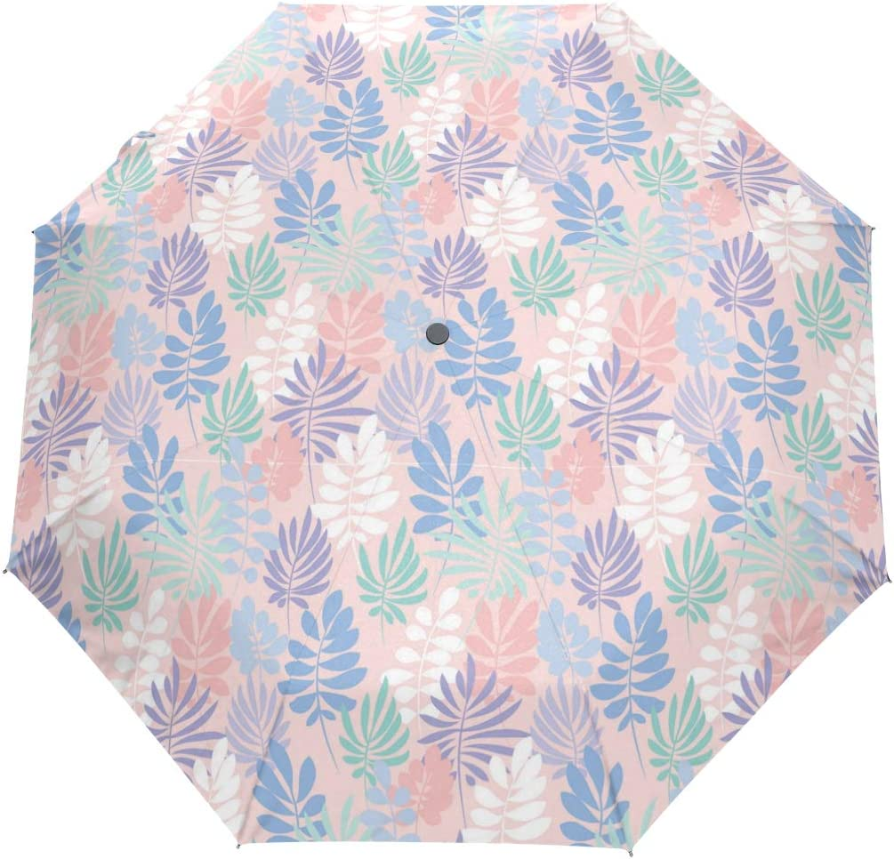 Tende Fresh Tropical Leaves fashion print cute Windproof automatic tri-fold umbrella sun UV protection Sun umbrella