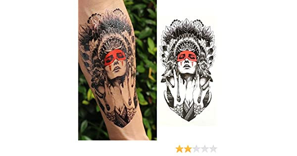 Oottati Tatuajes Temporales Old School Mujeres Indias Rojo (2 ...