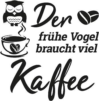 Home Wandtattoo Grafik Mit Spruch Der Fruhe Vogel Braucht Viel Kaffee Ideal Fur Kuche Esszimmer Wohnzimmer Amazon De Baby
