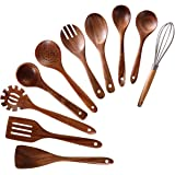 Wooden Utensils for Cooking,NAYAHOSE 10 PCS Teak Wooden Cooking Spoons and Spatula for Cooking including Spoon Ladle…