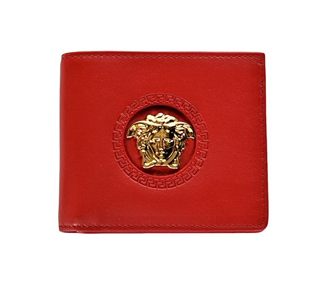7a4588077f Image Unavailable. Image not available for. Colour: Versace Palazzo Medusa Calf  Leather Bifold Wallet Red