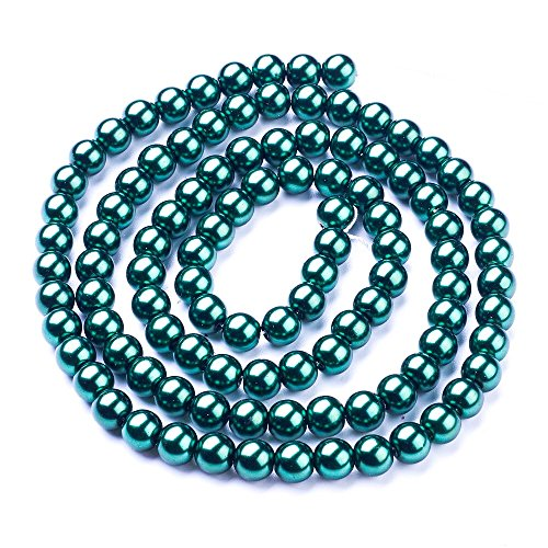 (AMZ Beads - 250 Loose 8mm Glass Rich Round Pearls Jewelry Making DIY Craft Beads (Forest Green))