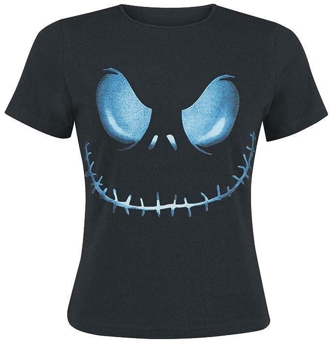 The Nightmare Before Christmas Pesadilla Antes de Navidad - Cara Femenina Camisa de Tim Burton Jack Camiseta de Las Mujeres: Amazon.es: Ropa y accesorios
