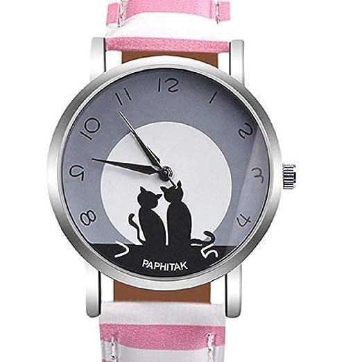 Mujeres Relojes de Cuarzo Cat Patrón Liquidación Relojes Femeninos en Rebajas Relojes de señora Relojes (Rosa): Amazon.es: Relojes