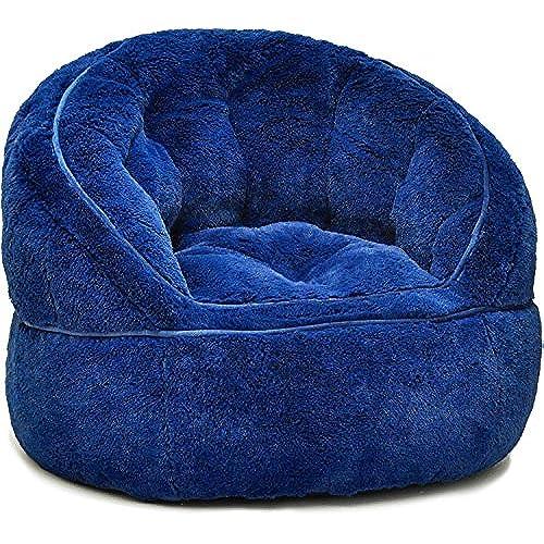 Heritage Kids Toddler Rabbit Fur Bean Bag Chair, Navy