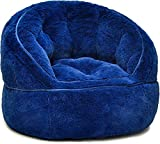 Heritage Kids Toddler Rabbit Fur Bean Bag Chair, Navy