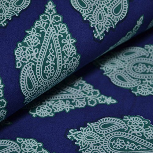 Shopolics Blue-White and Light Green Paisley Pattern Block Cotton Fabric-14001 for Party Wear, Dress Material (1 Yard) -