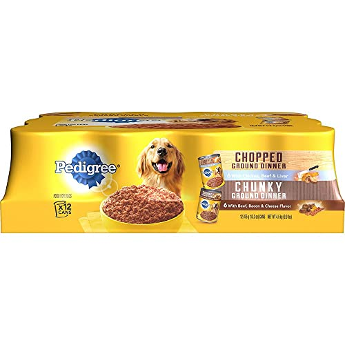 Pedigree Ground Dinner Wet Dog Food Variety Pack, Chicken, Beef and Liver, Beef, Bacon and Cheese, 12 13.2 Oz Cans