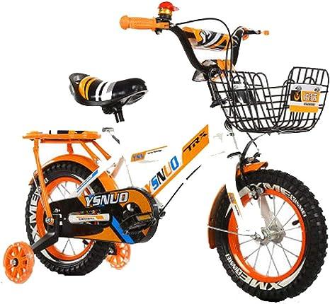 Bicicleta para Niños,Sistema de Freno de Disco Doble,Sillín Ajustable Manillar + Riel Auxiliar Antideslizante + Hervidor + Asiento Trasero + Cesta + Regalos Orange-b-12 Inch: Amazon.es: Deportes y aire libre