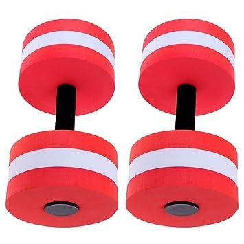 Sharplace 1 Par de Ejercicios Aeróbicos Acuáticos con Mancuernas de Agua Material EVA Barbell Gimnasio Piscina Color Rojo: Amazon.es: Deportes y aire libre