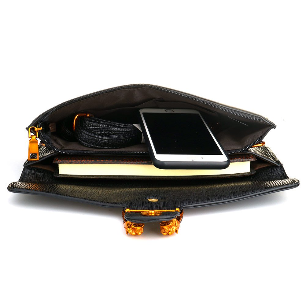 Leather Crossbody Purses Clutch Phone Wallets with Card Slots for Women (Black) by SSMY (Image #3)