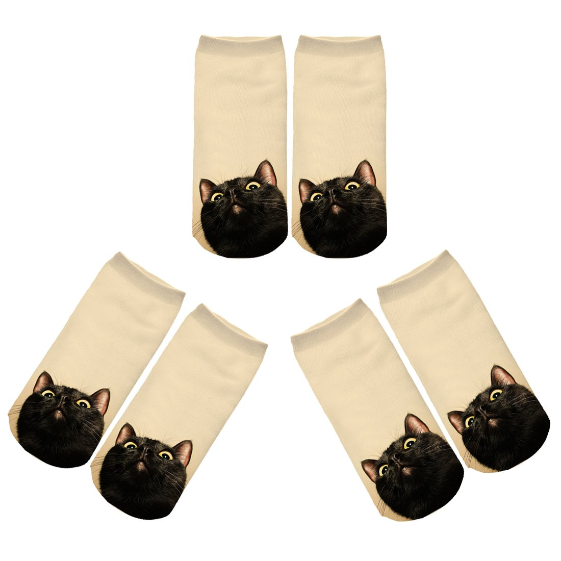 ZZ Socks Womens Cute Animal Colorful Cat Casual Ankle Socks (Yellow Cat 3 pairs)