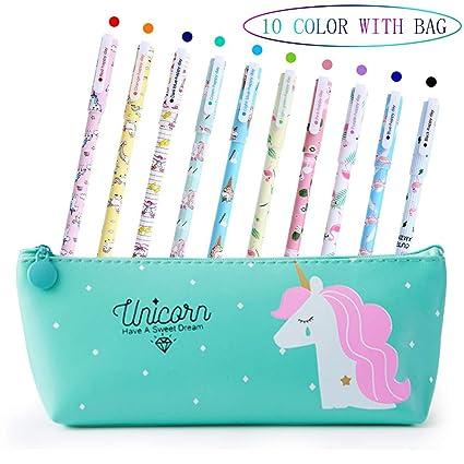 Bolígrafos de unicornio para niñas, regalo de cumpleaños escolar, Aperil juego de bolígrafos de unicornio para escribir con tinta negra suave para ...