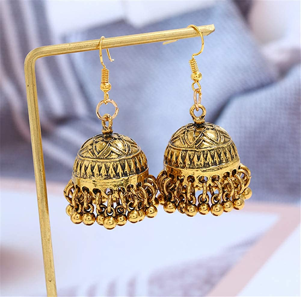 Fully 1 Pair Vintage Women Girls Indian Style Metal Earring Eardrops Piercing Dangle Statement Pendant Party with Gift Box