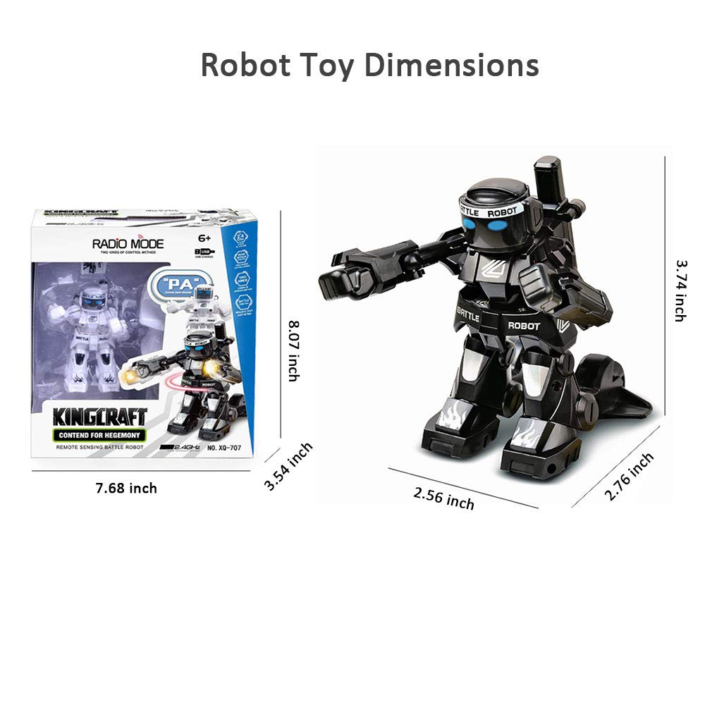 Dulcii RC Battle Boxing Robot/Toys, Remote Control 2.4G Humanoid Fighting Robot, Two Control Joysticks Real Boxing Fight Experience (Black & White) by Dulcii (Image #6)
