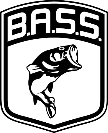 Bass BASS Fish Fishing 4quot X 5quot Vinyl Sticker Decal Black White