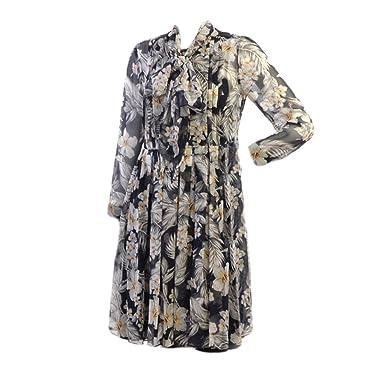 f951586f5f3 Image Unavailable. Image not available for. Color  MaxMara Studio Women s  Adua Hibiscus Print Dress Sz 8 Black