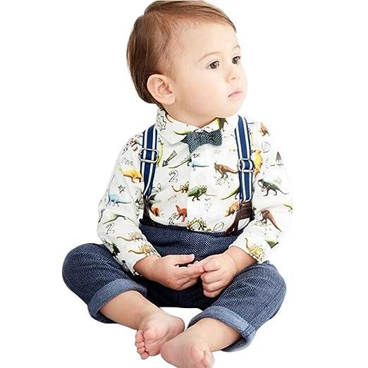 dd0edf3c92b Amazon.com  ❤ Mealeaf ❤ Toddler Outfits Baby Boys Romper Dinosaur Gentleman  Bowtie Shirt + Suspenders Pants + Bow Tie Clothes Set 0-4t  Clothing