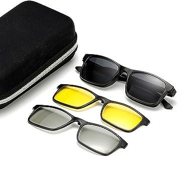 Rétro lunettes de soleil polarisées avec 3pcs lentilles interchangeables  pour hommes femmes Vue de nuit et c5601b544edd