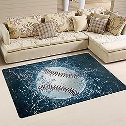 "Non-Slip 39"" x 60"" Area Rug Pad for Hardwood Floors by DEYYA, Baseball Door Mat for Bedroom Bathroom Decorative Lightweight Printed Rugs Carpet, Non-Slip Rug Pads for Hardwood Floors"