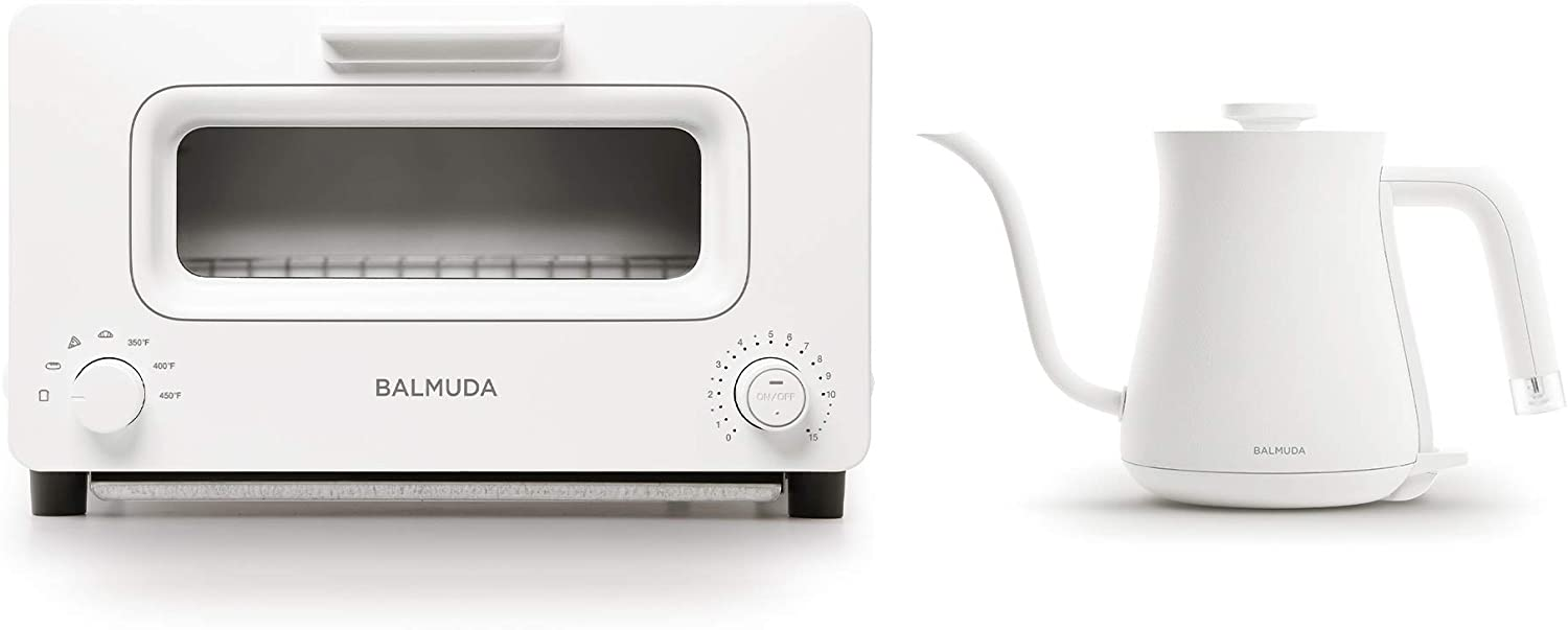 BALMUDA Combo Pack in White | BALMUDA The Toaster & BALMUDA The Kettle | Steam Toaster and Electric Gooseneck Kettle | White Combo