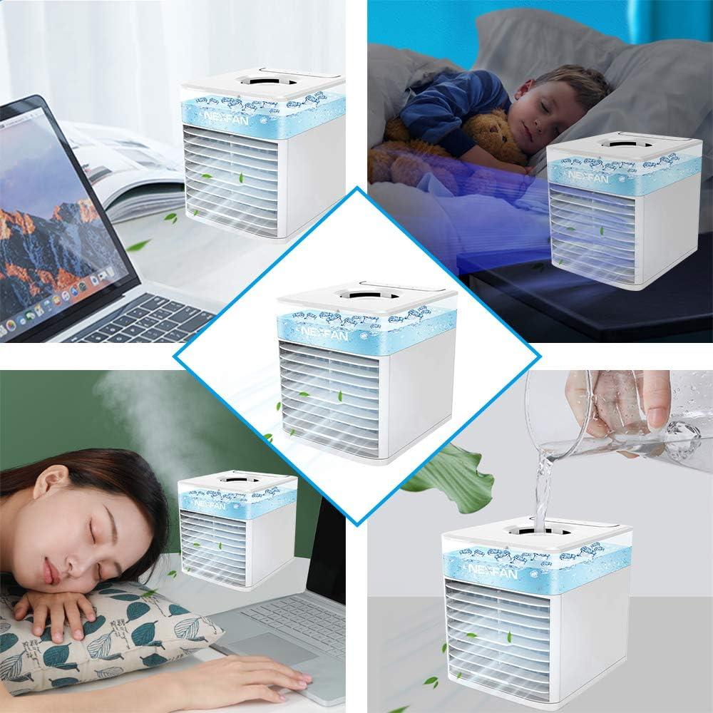 Blanco al Aire Libre JIMACRO Aire Acondicionado Port/átil NEXFAN Air Cooler Humidificador,USB Oficina Ventilador de Escritorio Aire Personal Enfriador Climatizador para el hogar