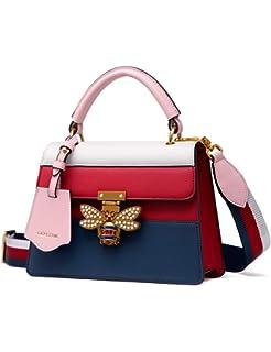 a9e8e68675b9 LA FESTIN Leather Tote Handbags for Women Multicolor Striped Shoulder Purses  with Bee Buckle
