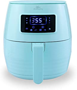 Kitchen Academy Air Fryer (50 Recipes), 5.5 Qt Electric Hot Air Fryers XL Oven Oilless Cooker, 7 Cooking Preset, LED Digital Touchscreen,Nonstick Basket,ETL/FDA Listed,1400W, Aqua