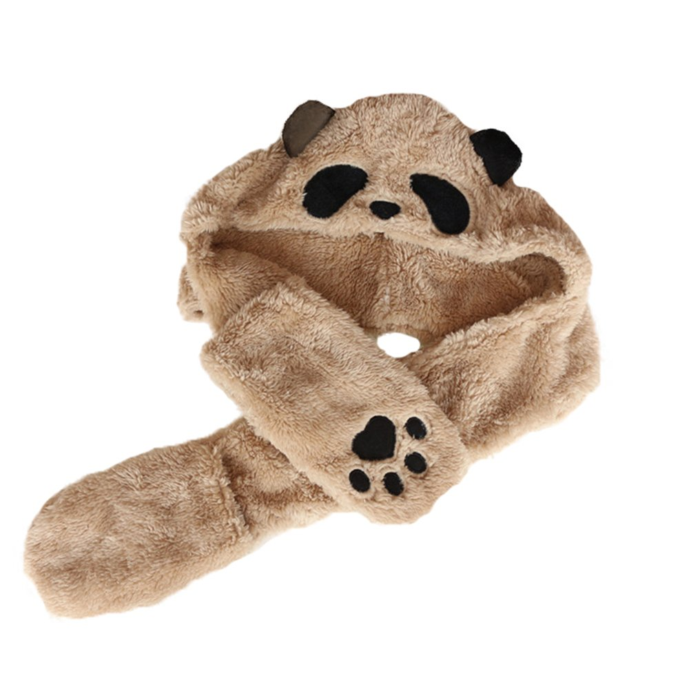 Novelty Panda Hat Adults Kids Baby Boys Girls Scarf Gloves Winter Parent-Child Hat doublebulls