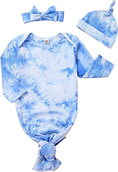 Infant Baby Girl Boy Nightgown Tie Dye Sleeper Gown with Hat Sleeping Bag 2Pcs Sleepwear Outfits Set