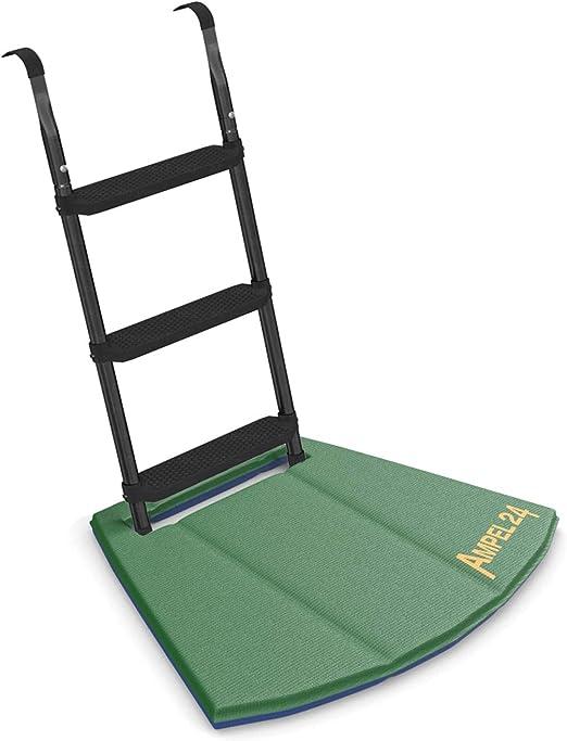 Ampel 24 - Escalera para Cama elástica con Alfombrilla de Suelo/Escalera ca 86 cm, 3 escalones Anchas, Negro/facilita la montada en el trampolín: Amazon.es: Jardín