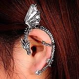 Metal Dragon Bite Ear Cuff Wrap Earring Gothic Punk Temptation Earring (Silver)