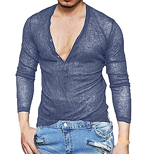 WM & MW Fashion Mens Shirt Slim Casual Long Sleeve Solid Color Button V-Neck