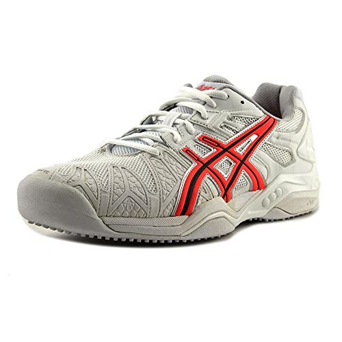 Asics Men s Gel-Resolution 5 Grass White Fiery Coral Silver Ankle-High 22e57df0a0f