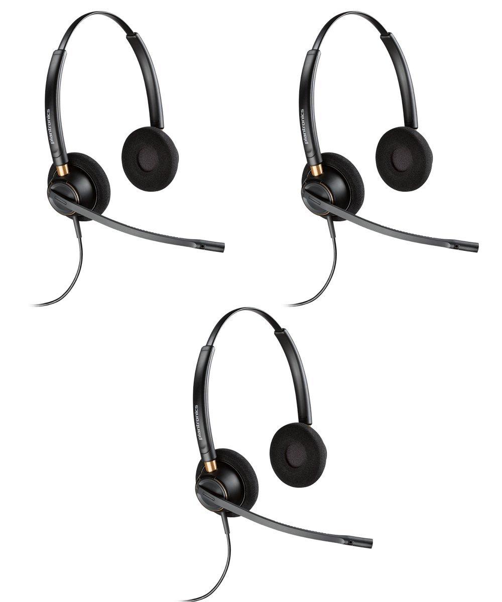 Plantronics HW520 Binaural Wired Office Headset- 3 Pack (Certified Refurbished)