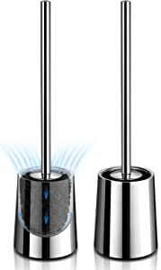 Toilet Brush and Holder, 【2020 Newest】 Homemaxs Upgraded 304 Stainless Steel Toilet Bowl Brush 2 Pack, Ventilation Design for No Smell, Modern Toilet Brush with Durable Bristles, Extended Handle