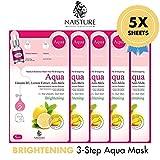 Facial Treatment Using Lemon - Naisture Aqua Face Mask Pack (5 Sheets), 3 Step Full Facial Treatment with Lemon and Vitamin B3 for Uneven, Dull Skin - Brightening