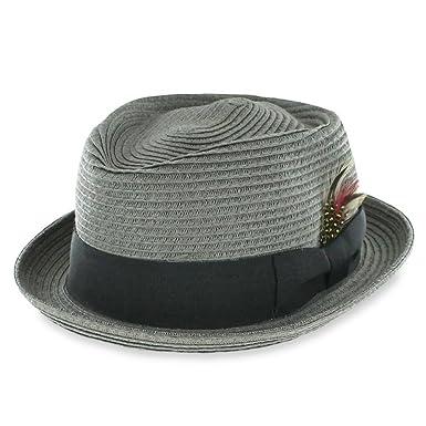 aafadfe29 Belfry Men/Women Summer Straw Pork Pie Trilby Fedora Hat in Blue, Tan, Black