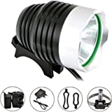 Comunite 1200 Lumens Super Bright Cree Xlm Led Flashlight Bike Light Headlamp Flashlight with 5200mah Battery Pack, for Camping,Hiking and More