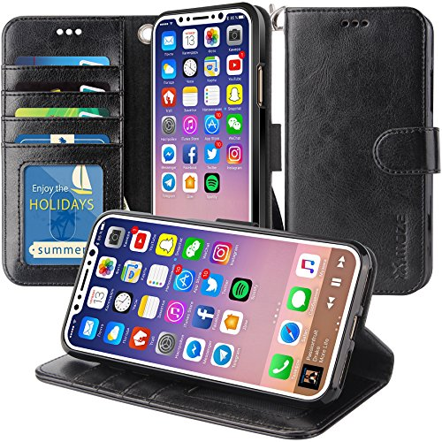 iPhone X Case, K-Moze iPhone X Wallet Case [4 Card Slots ] [Wrist Strap] [Stand Feature] PU Leather Flip Wallet Case Cover for iPhone X - Black