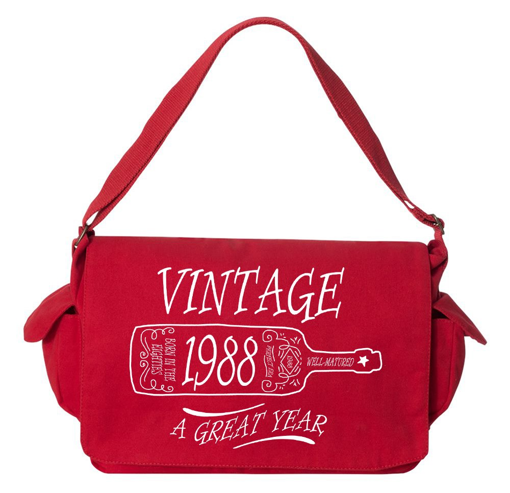 Tenacitee Aged Like a Fine Wine 1988 Red Brushed Canvas Messenger Bag