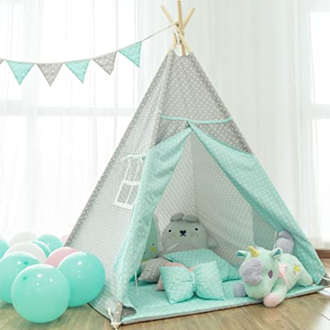 little dove Kids Foldable Teepee Play Tent Set with Mat Banner Carry Case Blue Point One  sc 1 st  Amazon.com & Amazon.com: little dove Kids Foldable Teepee Play Tent Set with ...