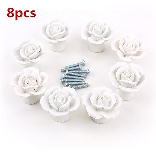 color blanco PUSHPACRAFTS Pomos de cer/ámica para puerta dise/ño de flores