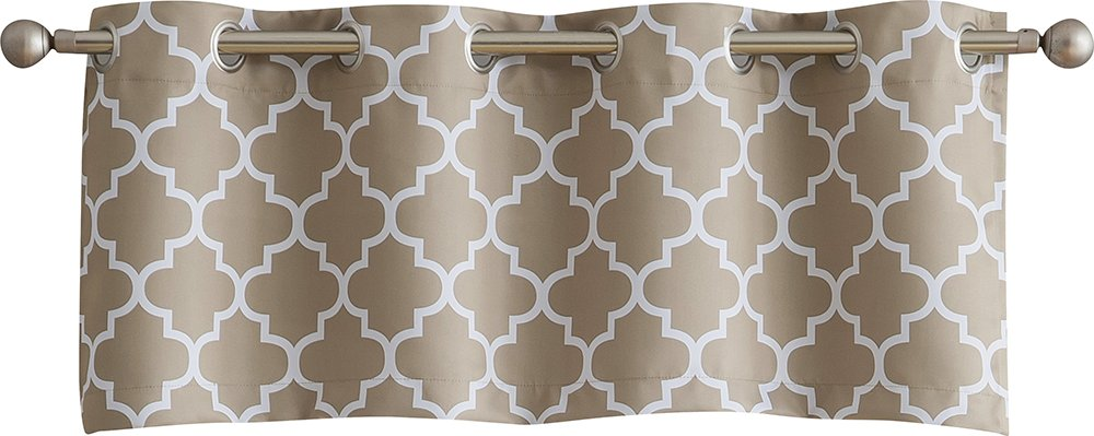 HLC.ME Lattice Print Thermal Grommet Blackout Valance for Small Windows - Grey - 52