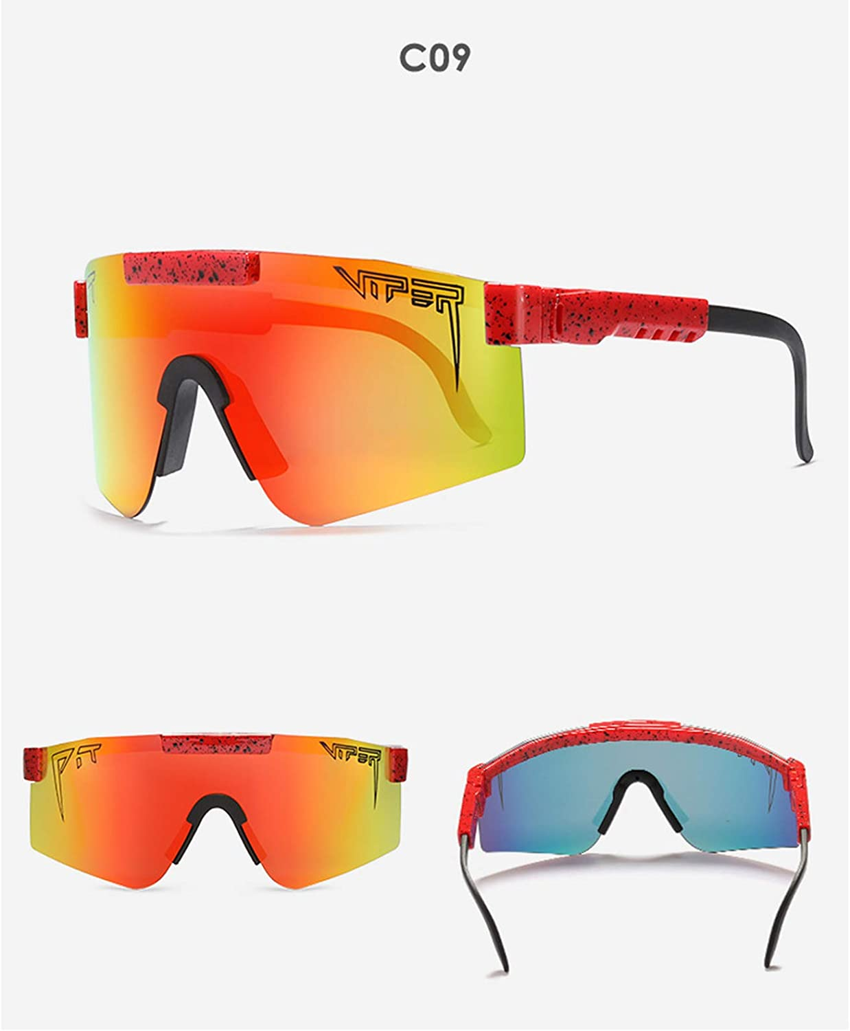 Wmbzxh Pit Viper Polarized Sunglasses for Men and Women Cycling Driving Goggles Outdoor Windproof Uv Mirror Lenses wih Case